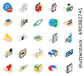 call center icons set.... | Shutterstock .eps vector #690382741