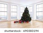 christmas tree  in living room  ... | Shutterstock . vector #690383194