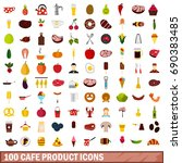 100 cafe product icons set in... | Shutterstock .eps vector #690383485