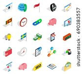 business strategy icons set.... | Shutterstock .eps vector #690383557