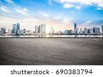 Empty road floor surface with modern city landmark buildings of chongqing bund Skyline of morning