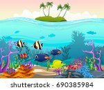illustration of fish and coral... | Shutterstock .eps vector #690385984