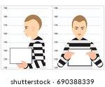 black and white robber mugshot... | Shutterstock .eps vector #690388339