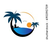 beach logo | Shutterstock .eps vector #690390709