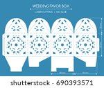openwork favor box with a lace... | Shutterstock .eps vector #690393571