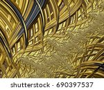 fractal created based on gold... | Shutterstock . vector #690397537