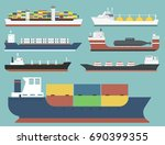 cargo vessels and tankers... | Shutterstock .eps vector #690399355