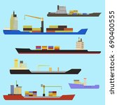 set of ships in flat style. set ... | Shutterstock .eps vector #690400555