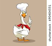 goose chef   red scarf | Shutterstock .eps vector #690404551