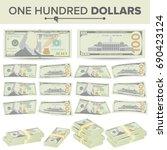 100 dollars banknote vector.... | Shutterstock .eps vector #690423124