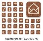 dark wooden icon set with...