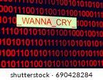virus wanna cry in binary code... | Shutterstock . vector #690428284