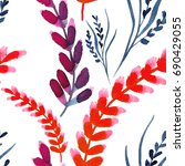 watercolor seamless leaves... | Shutterstock . vector #690429055