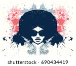 afro style women head with... | Shutterstock .eps vector #690434419