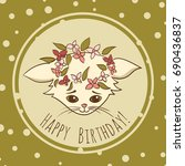 cartoon cat vector birthday card | Shutterstock .eps vector #690436837