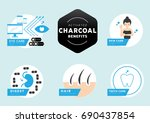 six benefits of activated...   Shutterstock .eps vector #690437854