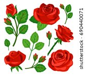 Stock vector set of red roses 690440071