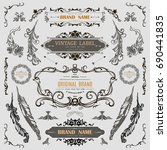 set of vintage decorations... | Shutterstock .eps vector #690441835