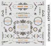set of vintage decorations... | Shutterstock .eps vector #690441844