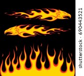 eagle flames on black... | Shutterstock .eps vector #690443521
