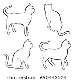 cat drawings. isolated vector... | Shutterstock .eps vector #690443524