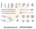 set of hand drawn flowers ... | Shutterstock .eps vector #690445864