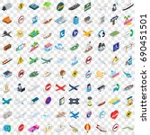 100 navigation icons set in...
