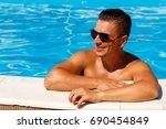 close up portrait of attractive ... | Shutterstock . vector #690454849