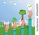 let's save the world.green city ... | Shutterstock .eps vector #690460099