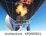 close up gas burner of hot air... | Shutterstock . vector #690485821