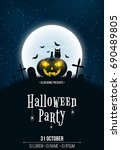 template for halloween party.... | Shutterstock .eps vector #690489805
