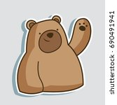 cute and funny bear cartoon... | Shutterstock .eps vector #690491941
