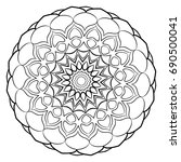 a beautiful monochrome mandala. ... | Shutterstock .eps vector #690500041