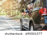 travel by car family trip... | Shutterstock . vector #690501577