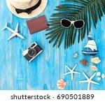 summer fashion woman big hat... | Shutterstock . vector #690501889