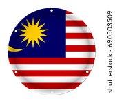 round metallic flag of malaysia ... | Shutterstock .eps vector #690503509