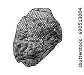 rock stone. black and white... | Shutterstock . vector #690513004