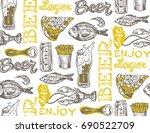 hand drawn doodle beer set.... | Shutterstock .eps vector #690522709