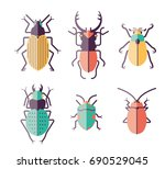 9 vector insects and beetles on ... | Shutterstock .eps vector #690529045