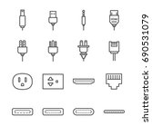 plug and socket line icon set....   Shutterstock .eps vector #690531079