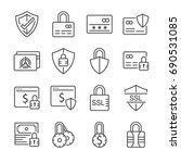 secure payment line icon set.... | Shutterstock .eps vector #690531085