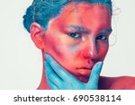 body art woman face portrait ... | Shutterstock . vector #690538114