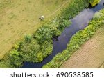 Aerial View Of Cows Beside River