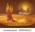 thai dragon or serpent king or... | Shutterstock .eps vector #690545611