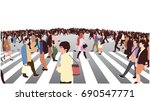 illustration of busy street... | Shutterstock .eps vector #690547771