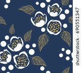 seamless pattern with white... | Shutterstock .eps vector #690551347