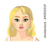 girl's face. vector... | Shutterstock .eps vector #690552319