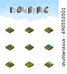 isometric way set of footer ...   Shutterstock .eps vector #690553501