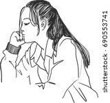 vector art drawing of woman... | Shutterstock .eps vector #690553741