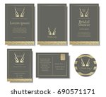 set of elegant gold wedding... | Shutterstock .eps vector #690571171